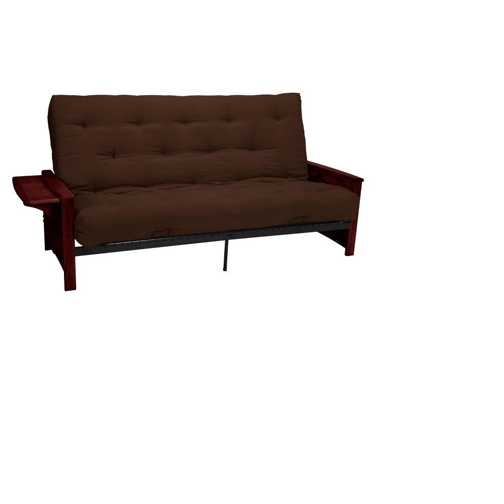 Brooklyn 8 Inch Inner Spring Futon Sofa Sleeper Walnut Wood Finish Espresso Brown
