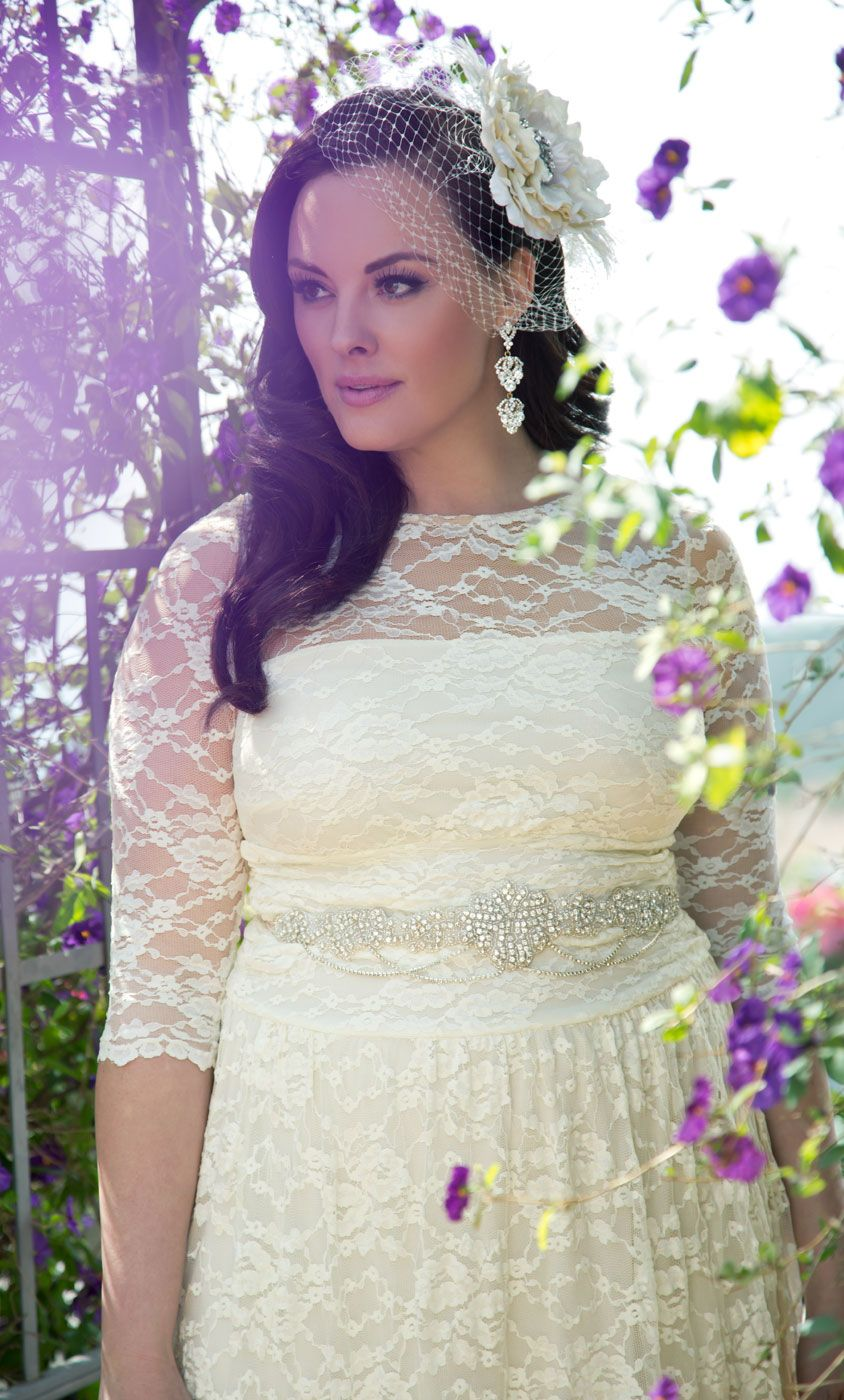 Kiyonna wedding dress  Lace Illusion Wedding Gown  Wedding  Pinterest  Illusion wedding