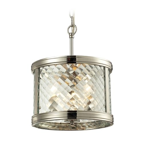 Drum Pendant Light with Clear Glass in Polished Nickel Finish at Destination Lighting