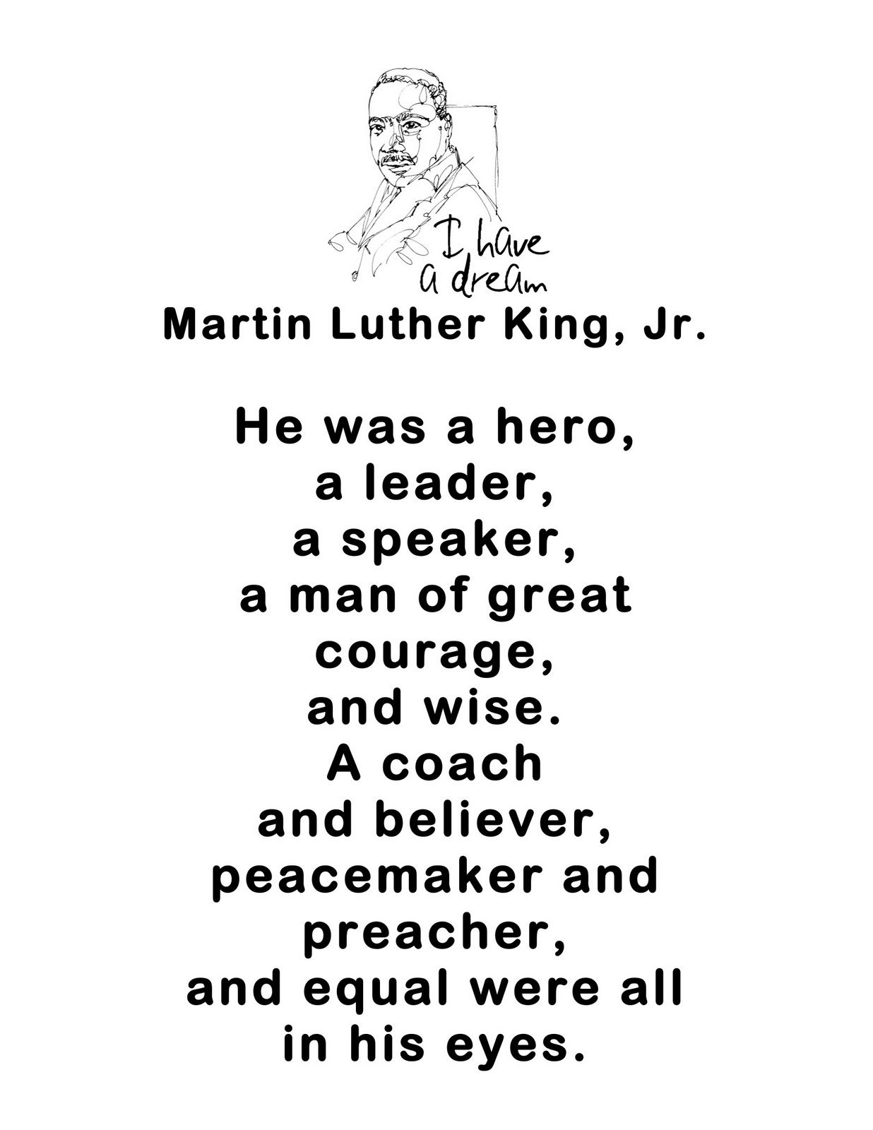 Coloring pictures martin luther king jr - Just 4 Teachers Sharing Across Borders Martin Luther King Jr Poem And