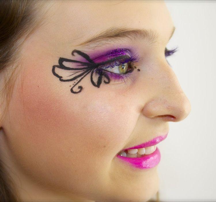 schmetterling schminken erwachsene augen violett makeup fasching carnival fasching. Black Bedroom Furniture Sets. Home Design Ideas