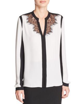 0bf8cac0eb75 Elie Tahari Denise Lace Color Block Silk Blouse - $298 | Clothes ...