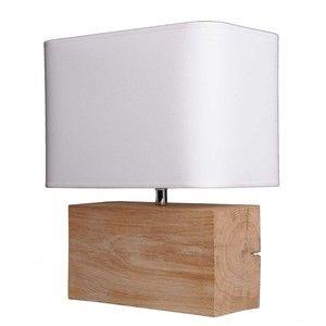 Lampe en chêne rectangle avec abat jour blanc hauteur 38cm