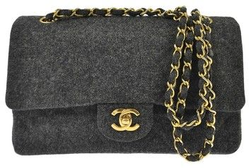 Get one of the hottest styles of the season! The Chanel Cc Double Flap  Chain Wool Vintage Shoulder Bag is a top 10 member favorite on Tradesy. 3f1814df69e4e