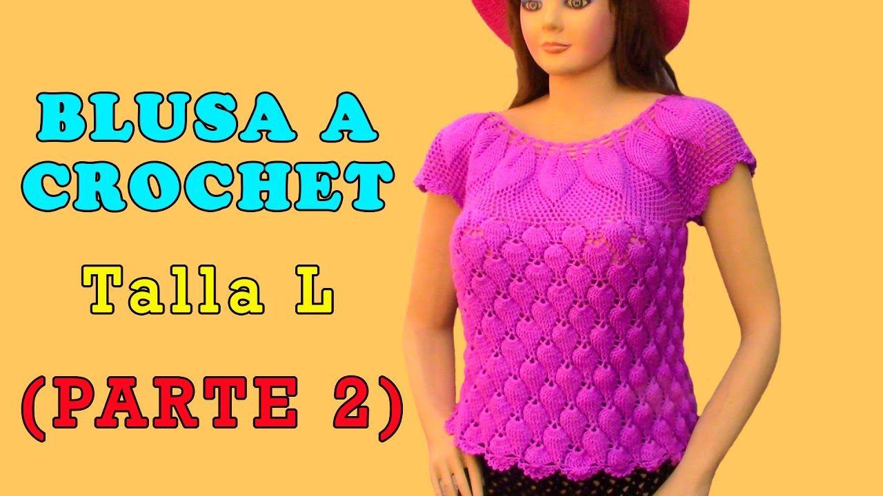 Blusa tejida a crochet en punto Hojas en Relieves talla L para damas ...