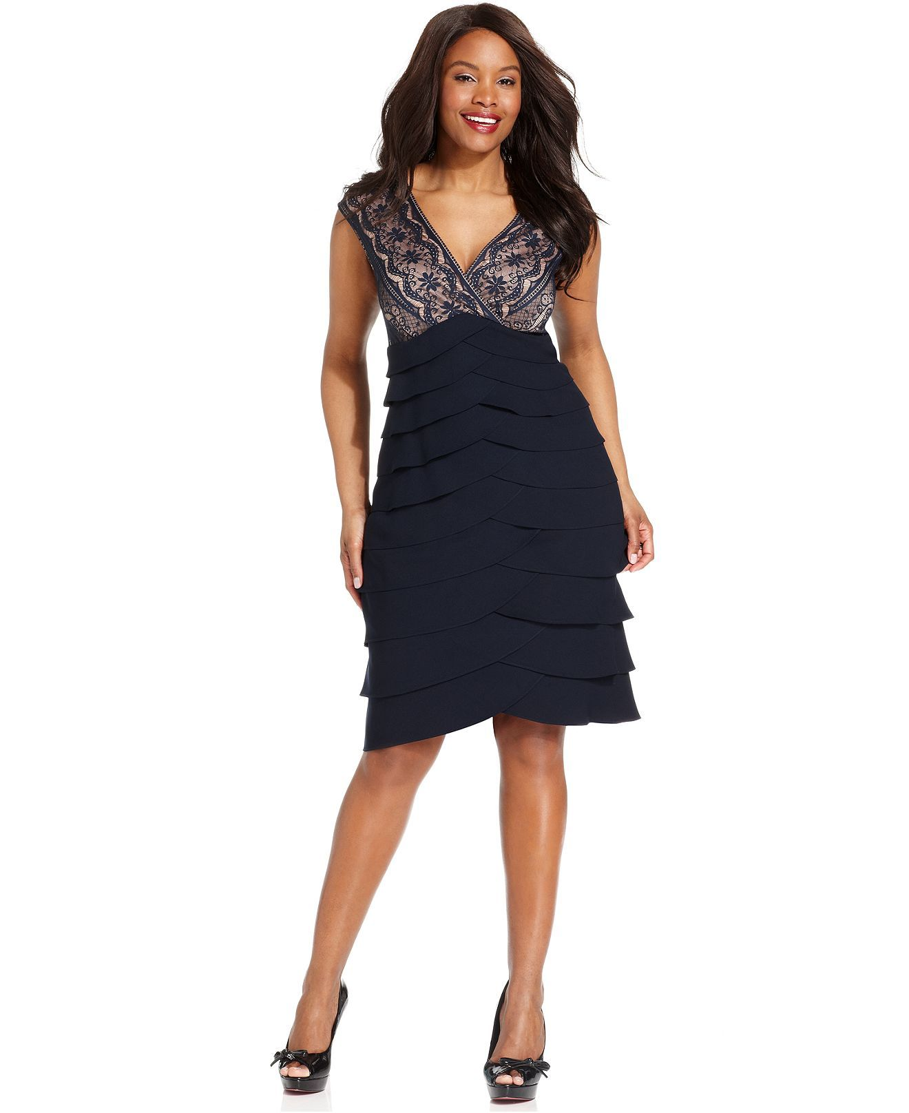 Jessica Howard Plus Size Dress, Sleeveless Lace Tiered Cocktail ...