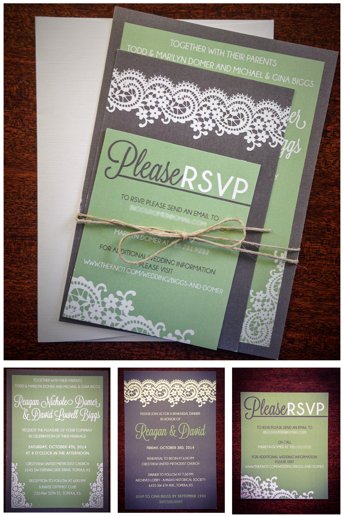 Wedding invitations sage green grey