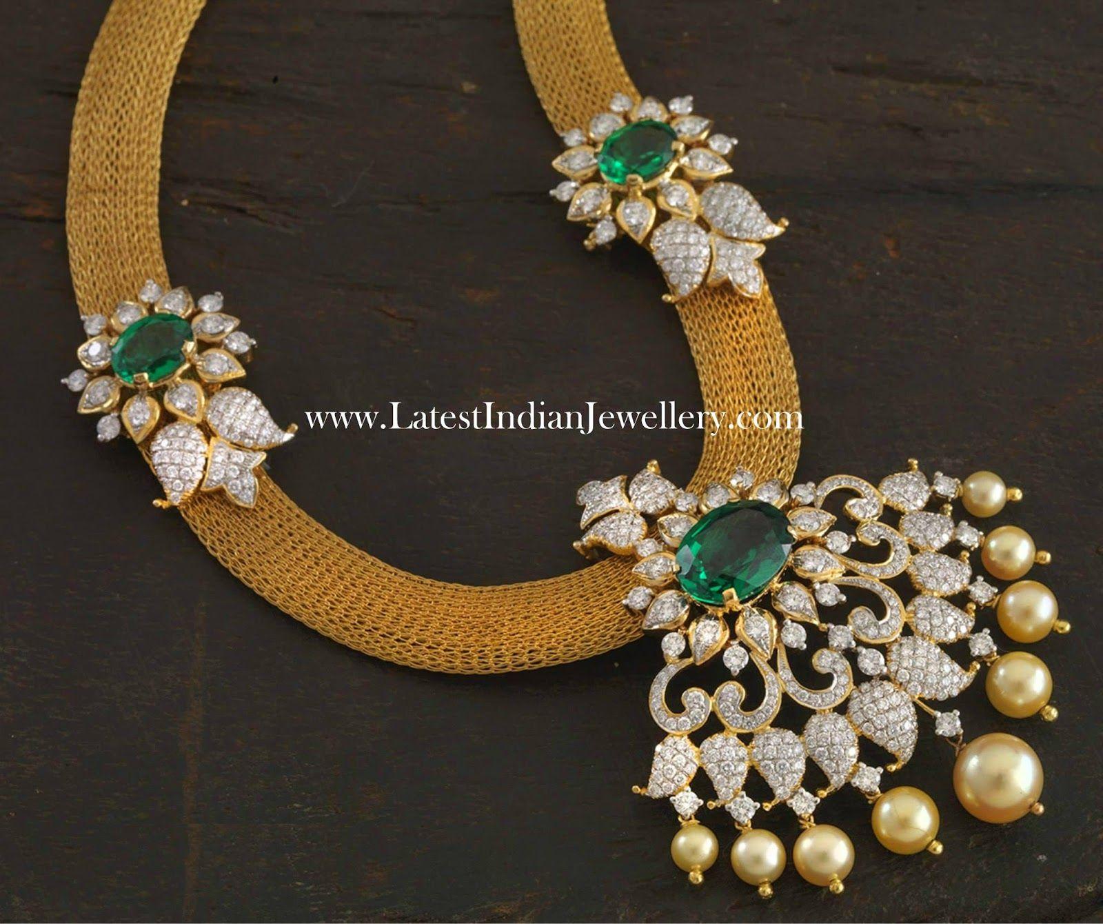 Emerald Diamond Jewellery: Diamond Emerald Pendant With Mesh Chain