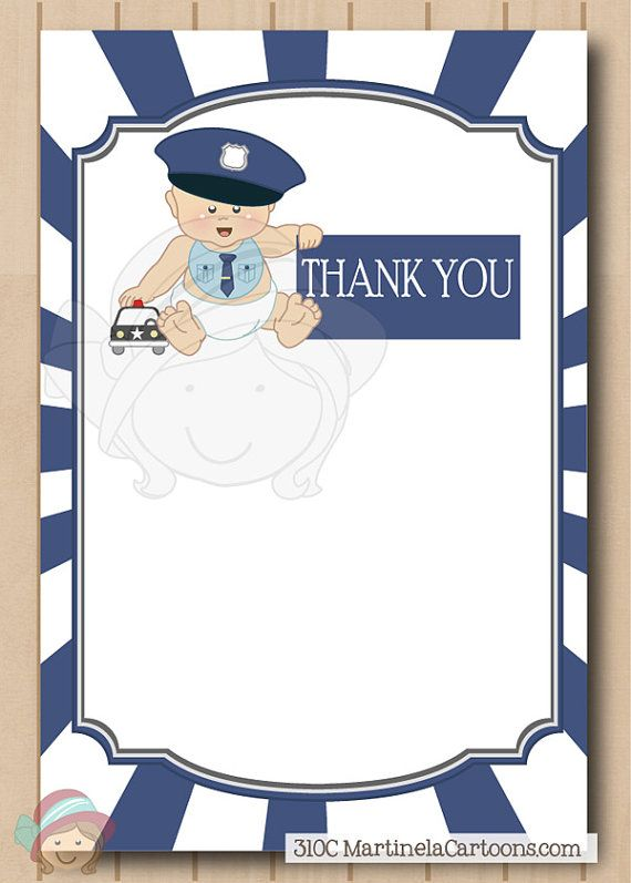 Printable police baby shower invitation thank you note with cop printable police baby shower invitation thank you note with cop baby police officer print your own instant download martinela cartoons filmwisefo