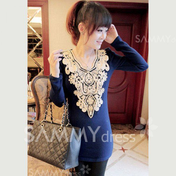 $7.46 Ladylike Retro Style V-Neck Long Sleeves Solid Color Jacquard Embellished Knitwear For Women