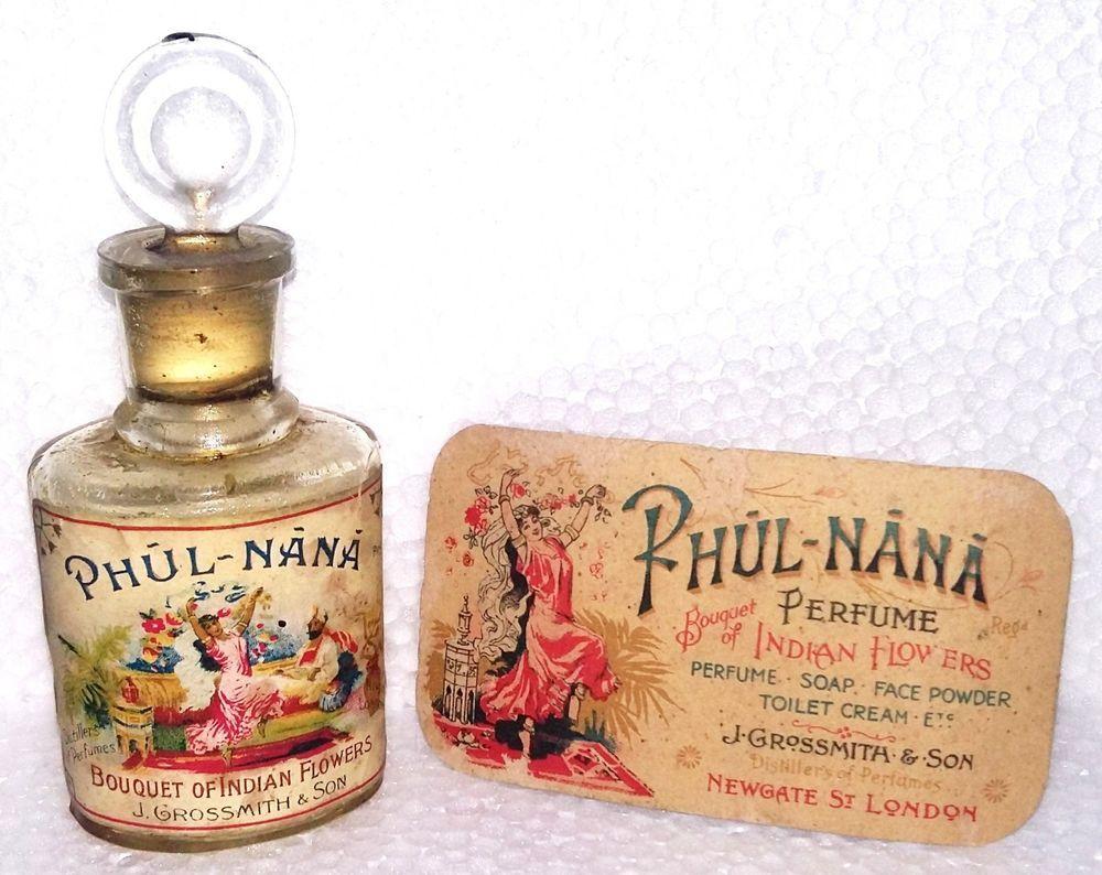 Vintage Phul Nana J.Grossmith & Son. Perfume Bottle With Card London