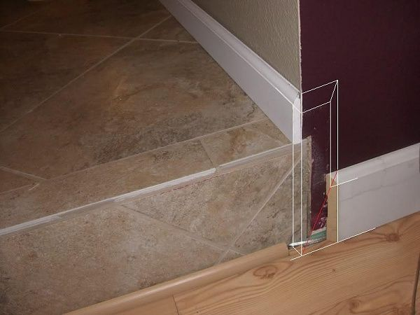 Transition Between Baseboards For Sunken Room Floor Molding Moulding Kitchen Flooring Linoleum