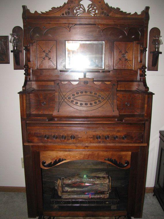 Repurposed Antique Pump Organ/Fireplace by JanetJohnCreations ...