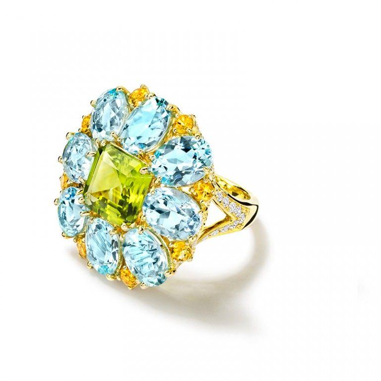 Ana Carolina Peridot, Blue Topaz and Citrine Ring.