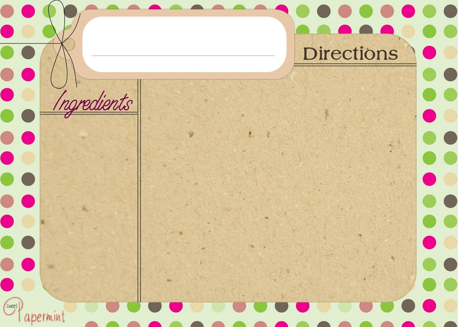 Free Recipe Card Templates | Thrifty Nifty Mommy: Free Printable ...