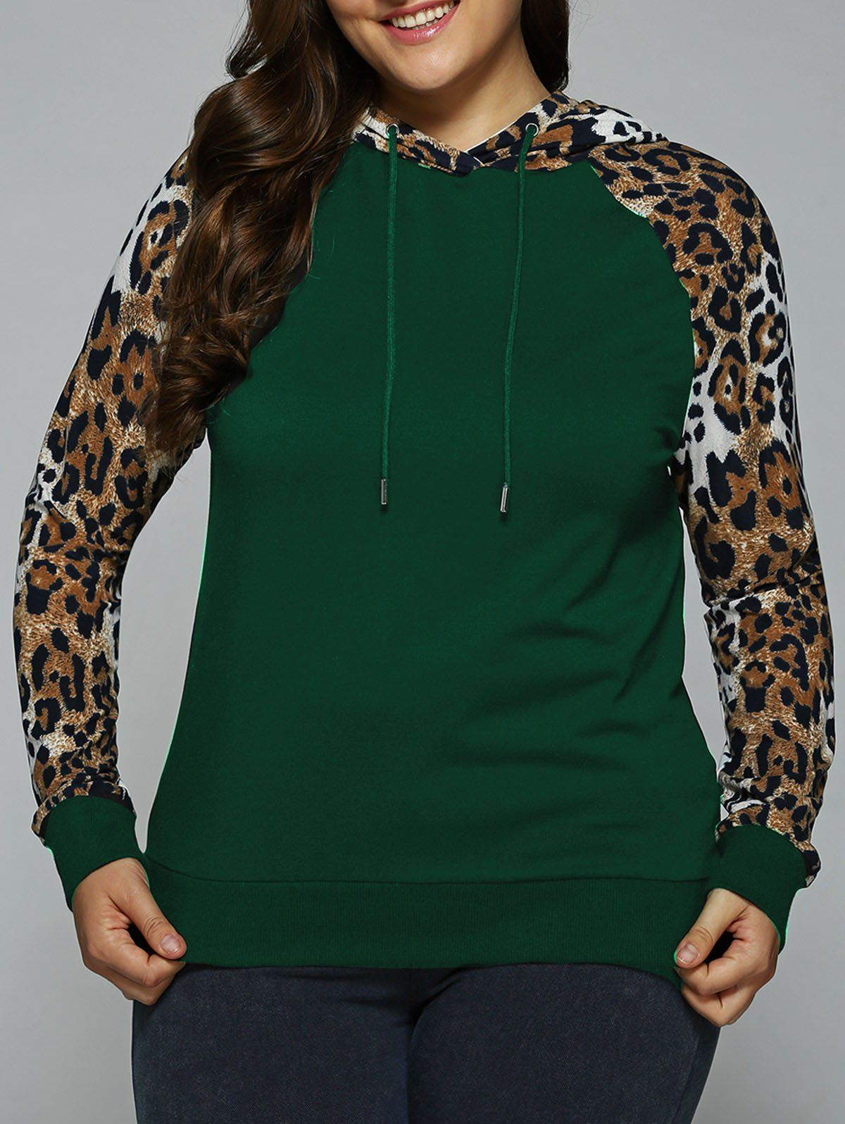 Plus Size Leopard Trim Raglan Sleeves Hoodie - DEEP GREEN 3XL