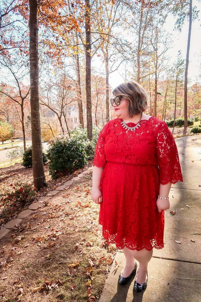 706631c3653 Holiday Party Dress  Scallop-Edge Lace Fit   Flare Dress From Lane Bryant