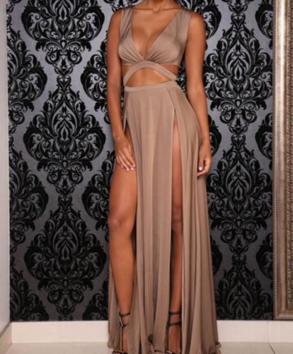 Formal and sexy bridesmaid dress with side cutouts