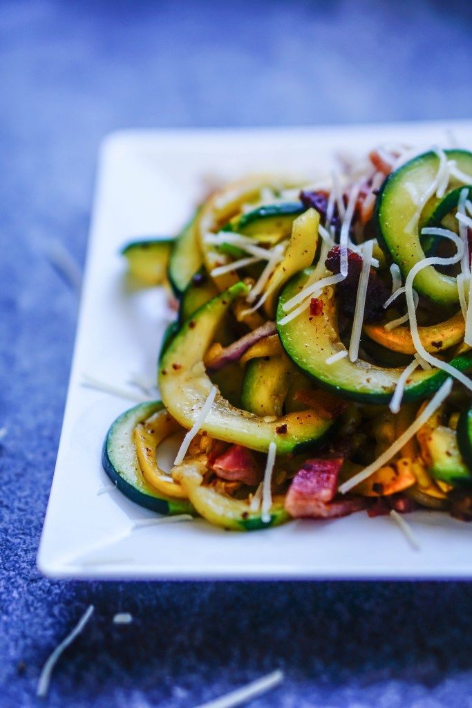 Summer Squash Zoodles with Bacon