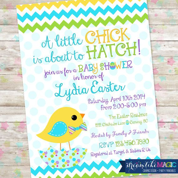 A Little Baby Shower Easter Invitation Printable Invite With Chevron Eggs