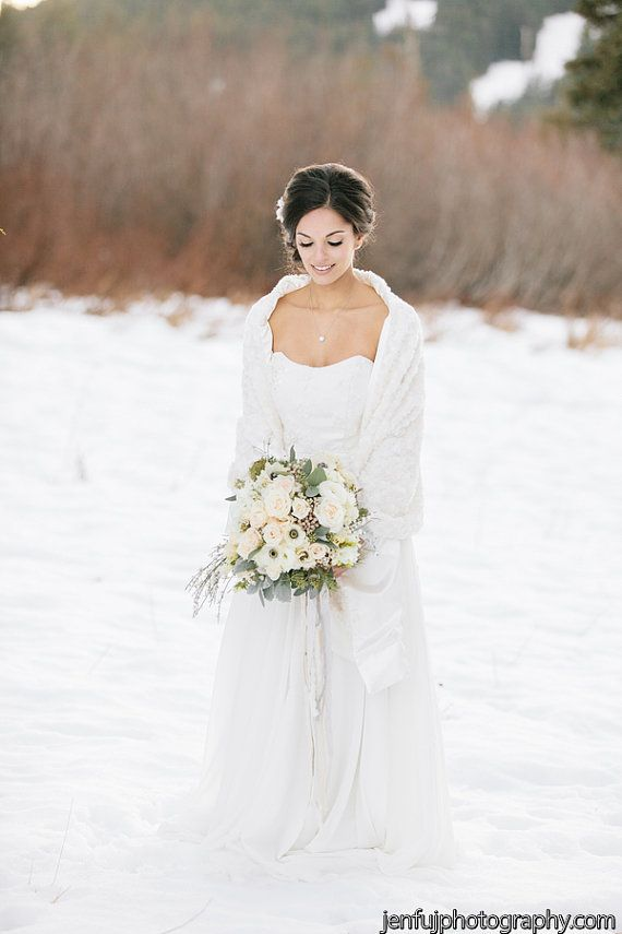 Ready To Wear Faux Fur Bridal Cover Up Stole By Marisolaparicio