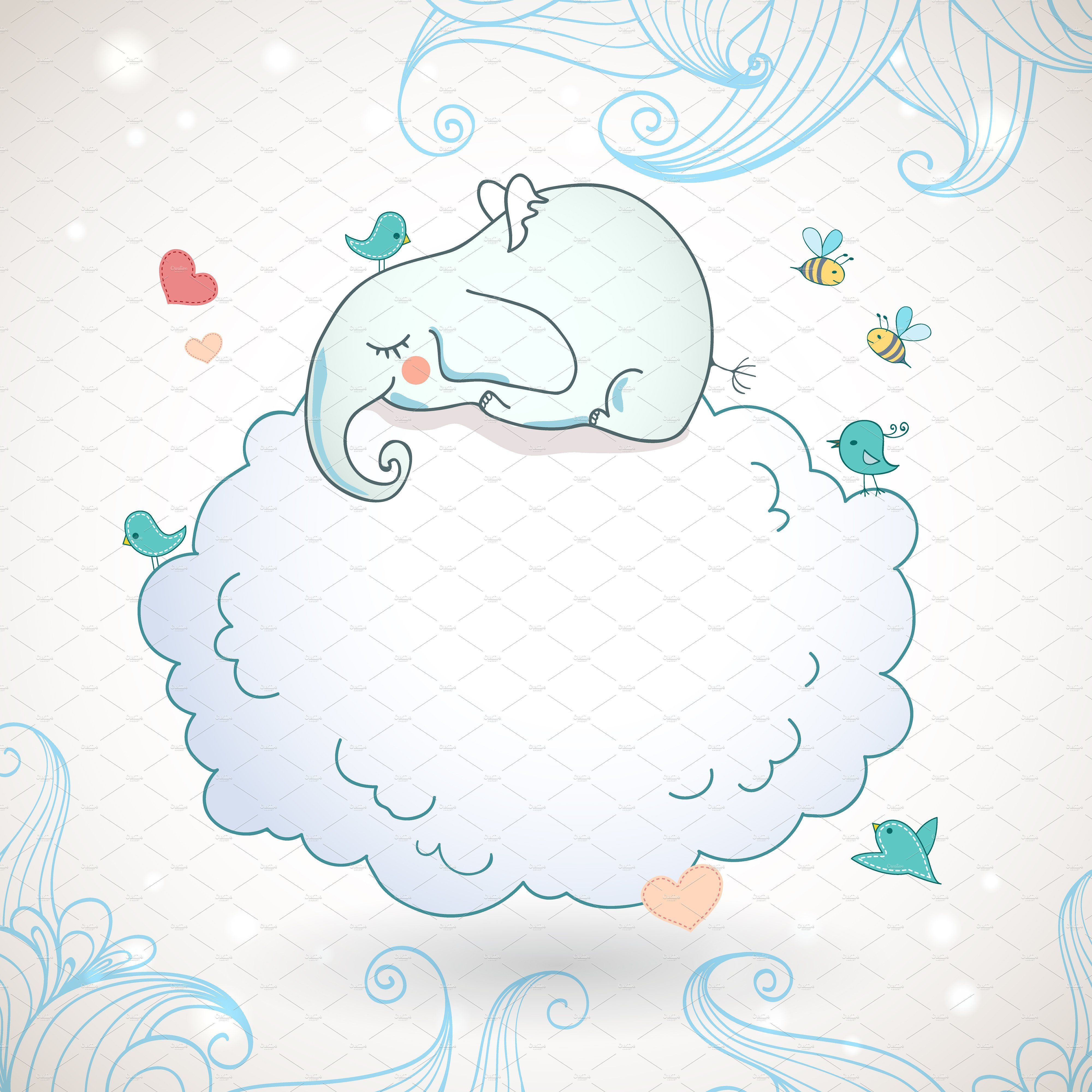 Cute elephant, sleeping on the cloud vectorillustration