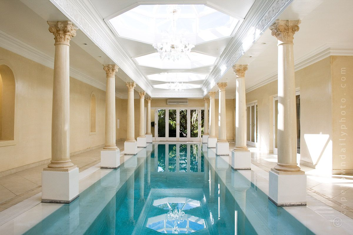 Amazing Luxury Indoor Swimming Pool Design : Luxury Indoor Swimming Pool  Design With Chandelier And Brown Wall Design