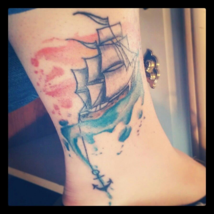 Amazing boat with anchor watercolor tattoo on thigh barcos
