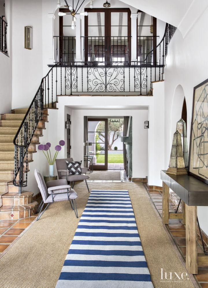 Spanish Colonial Neutral Courtyard With Woven Chairs In 2019 Live