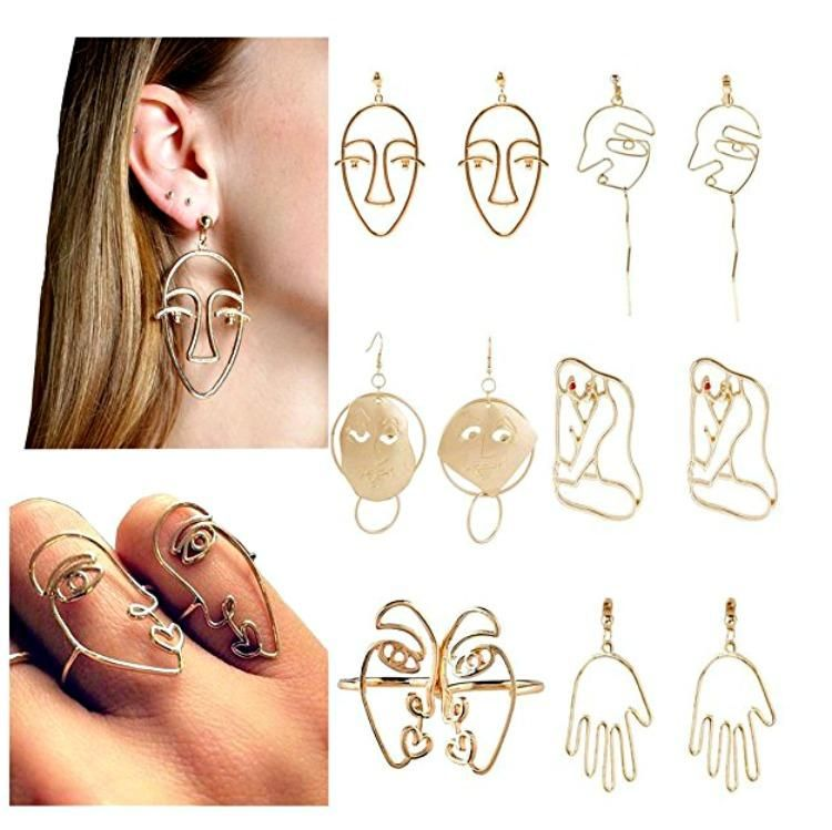 Set Of 5 Pairs Abstract Picasso Face Body Art Earrings Face Earrings Art Earrings Fashion Earrings