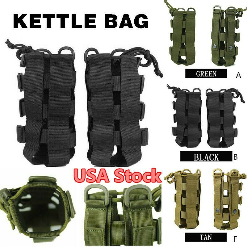 Tactical Military Molle Water Bottle Bag Kettle Pouch Holder Bag Outdoor Hiking
