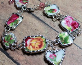 9981037fc Broken China Jewelry, Bracelet, Old Country Rose, Adjustable ...