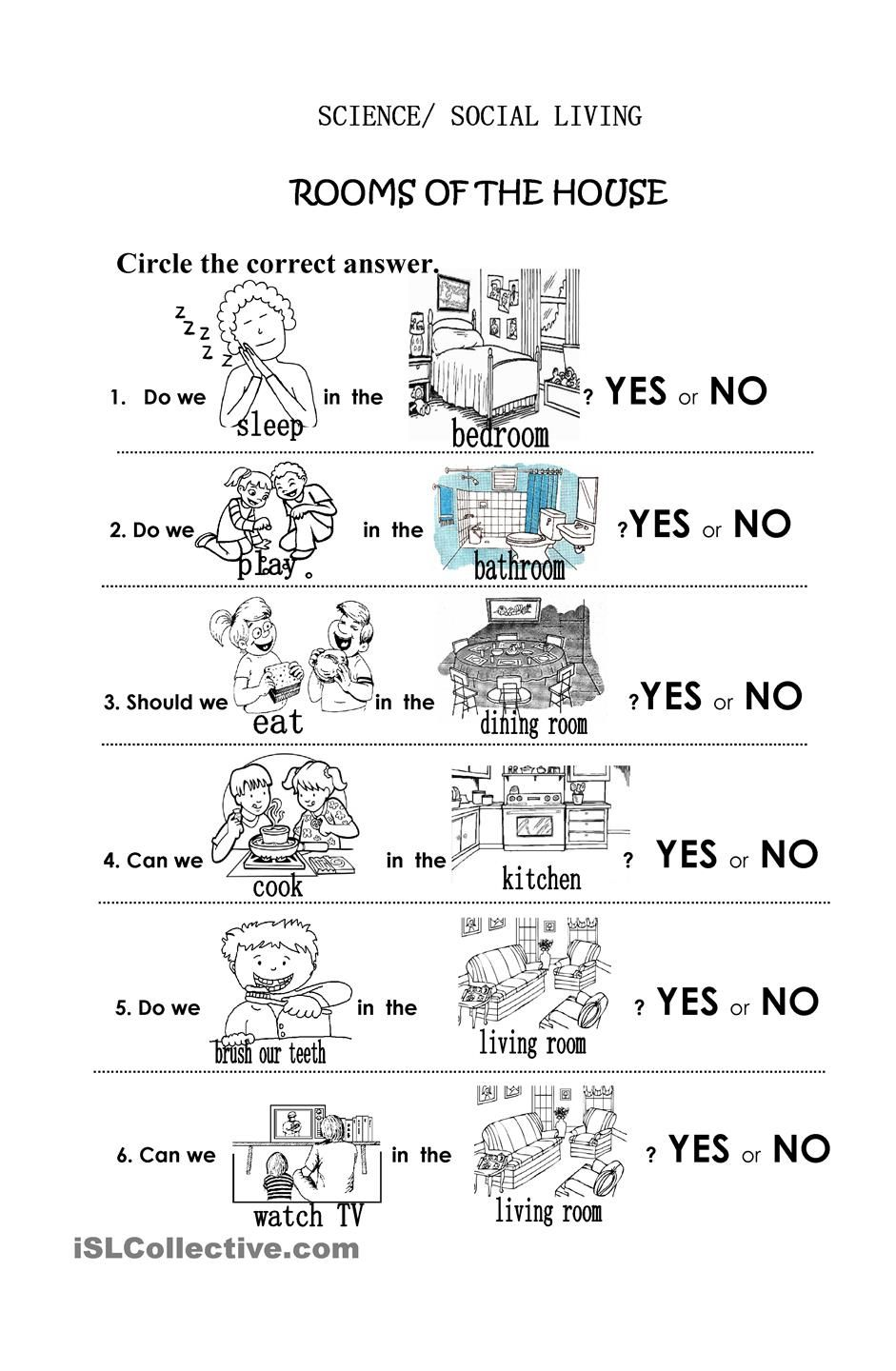 Rooms of the House | School ideas | Pinterest | Worksheets ...