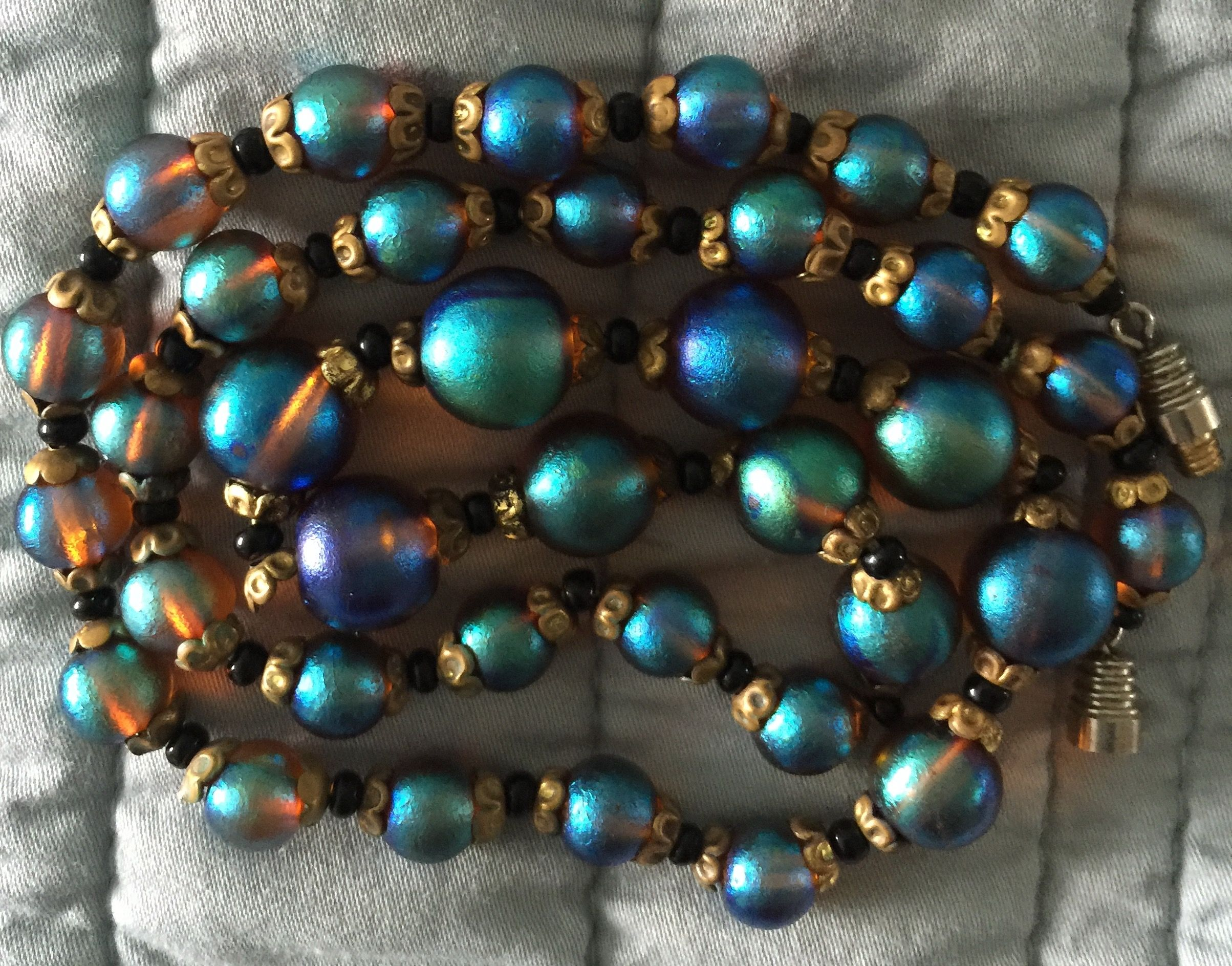 Handcrafted Necklace Colorful Beads and 3 Special Pieces of Beach Glass Measures 22 inches in Very Lovely Condition