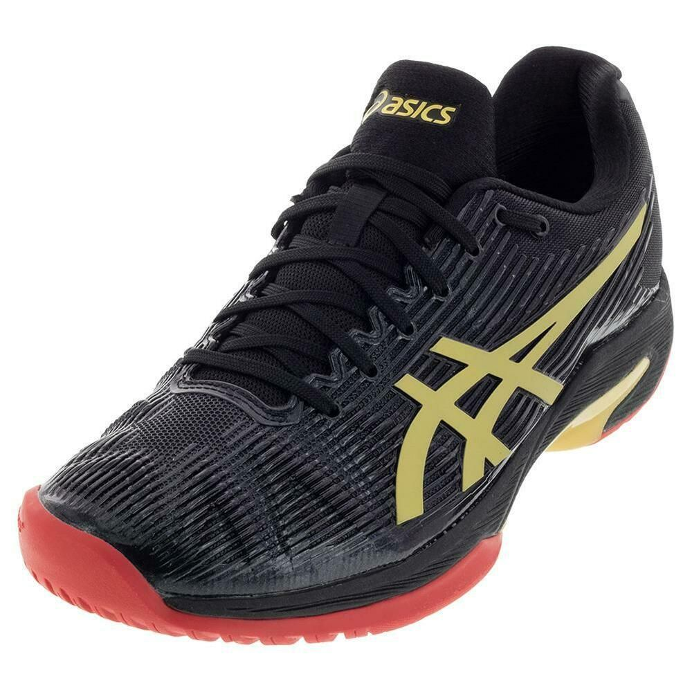 Advertisement Ebay Asics Men S Solution Speed Ff Le Tennis Shoes Black And Rich Gold 1041a054 Asics Tennis Shoes Tennis Shoes Black Shoes