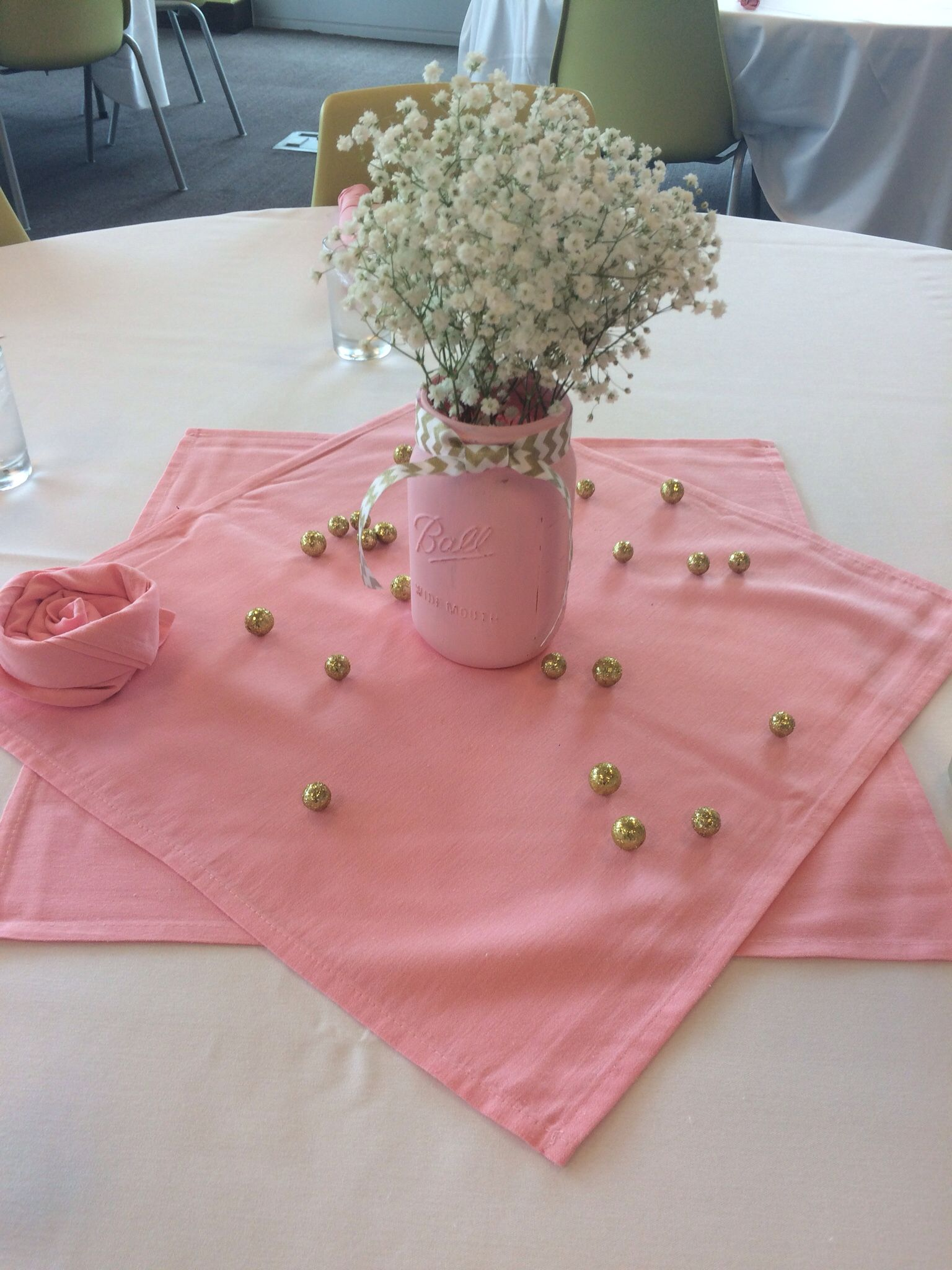 Find This Pin And More On Baby Shower Ideas By Luzumb. Pink U0026 Gold  Centerpiece.. Painted Mason Jar ...