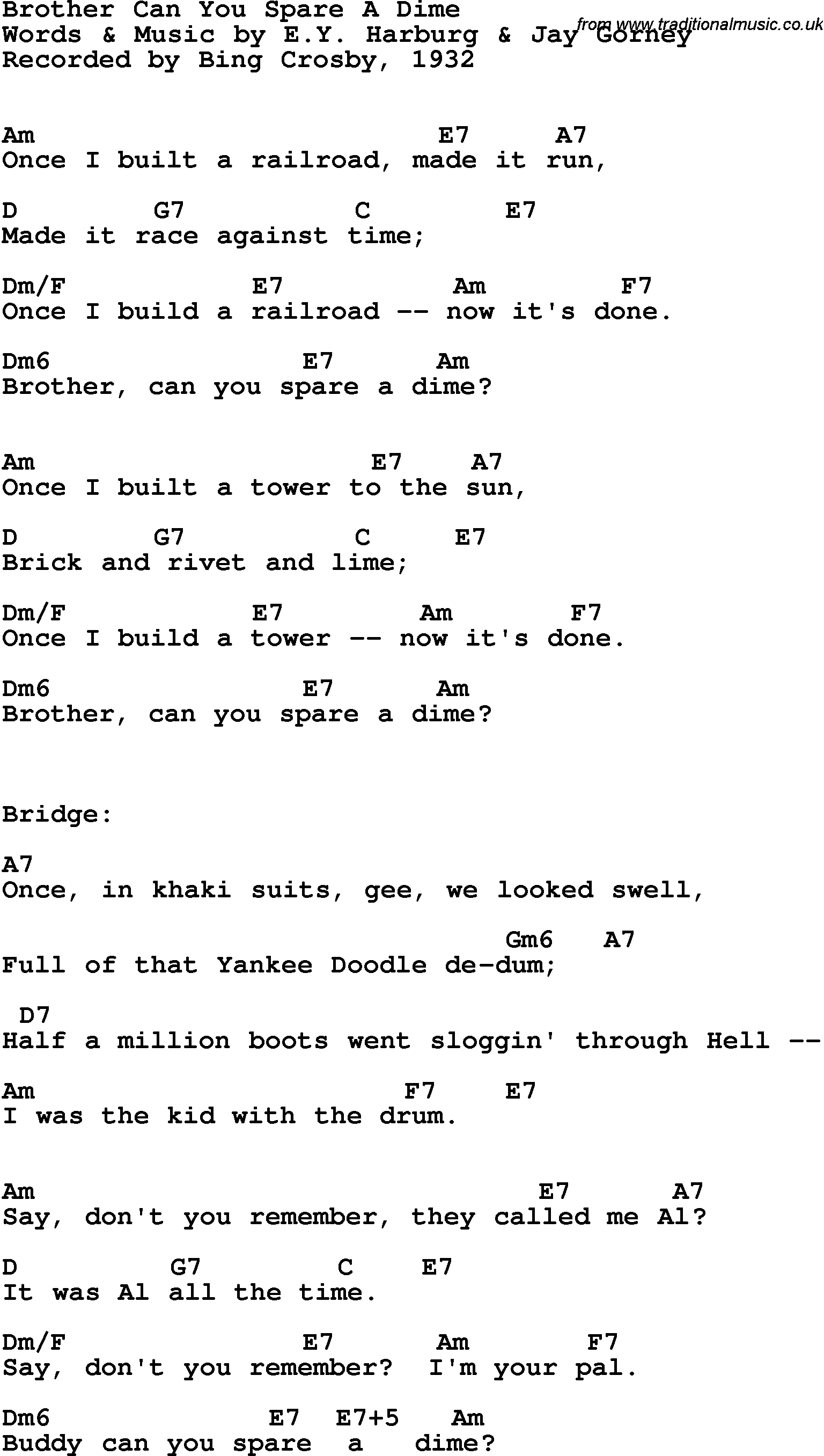 Song Lyrics With Guitar Chords For Brother Can You Spare A Dime
