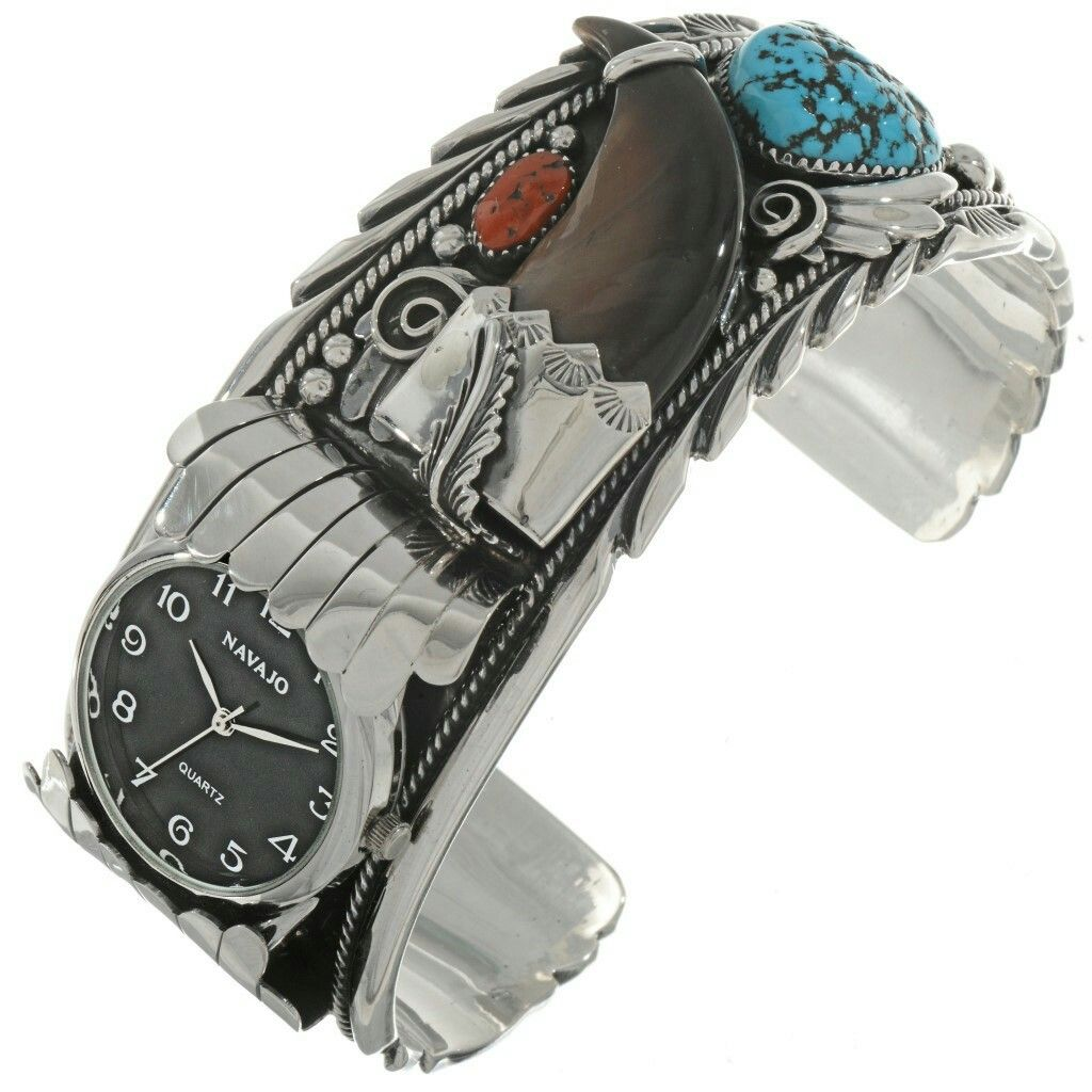 Turquoise Coral Bear Claw Silver Mens Watch Cuff Offset Face