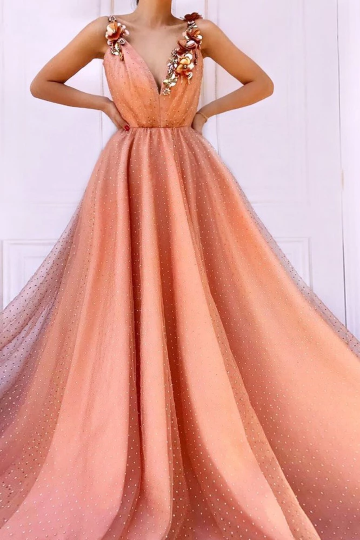 Vestidos de fiesta largos con flores 3D naranjas encantadoras Vestidos de noche baratos con cuello en V de tul US$ 179.00 VTOPR5291S4 - VestidoBello.com