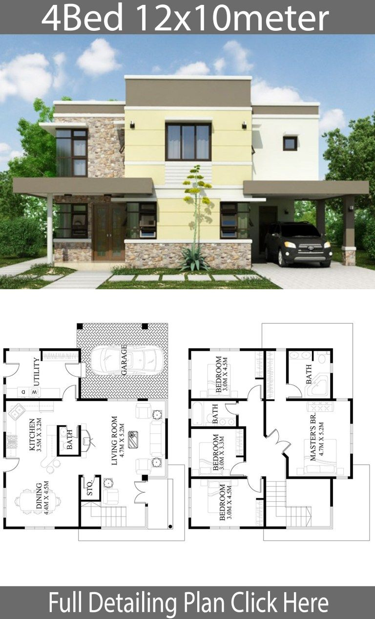 Home Design Plan 12x10m With 4 Bedrooms Home Design With Plan Big Modern Houses Duplex House Design Modern House Plans