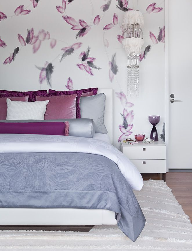 Feather Wallpaper Adds So Much Dimension And Movement To A Flat   Schlafzimmer  Beige Lila ...