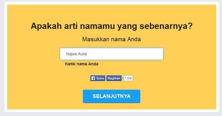 Aplikasi Fb Arti Nama Nametests Com Bikin Heboh Nama Aplikasi Namamu