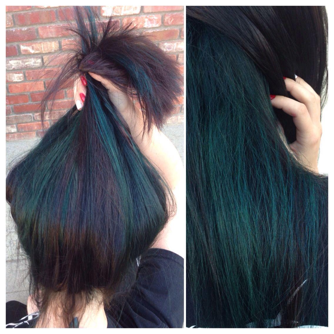 Dark Brown With Teal Underneath Hair Highlights Hair Dark Teal Hair