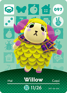 Willow Female Snooty Sheep Animal Crossing Amiibo Cards Animal