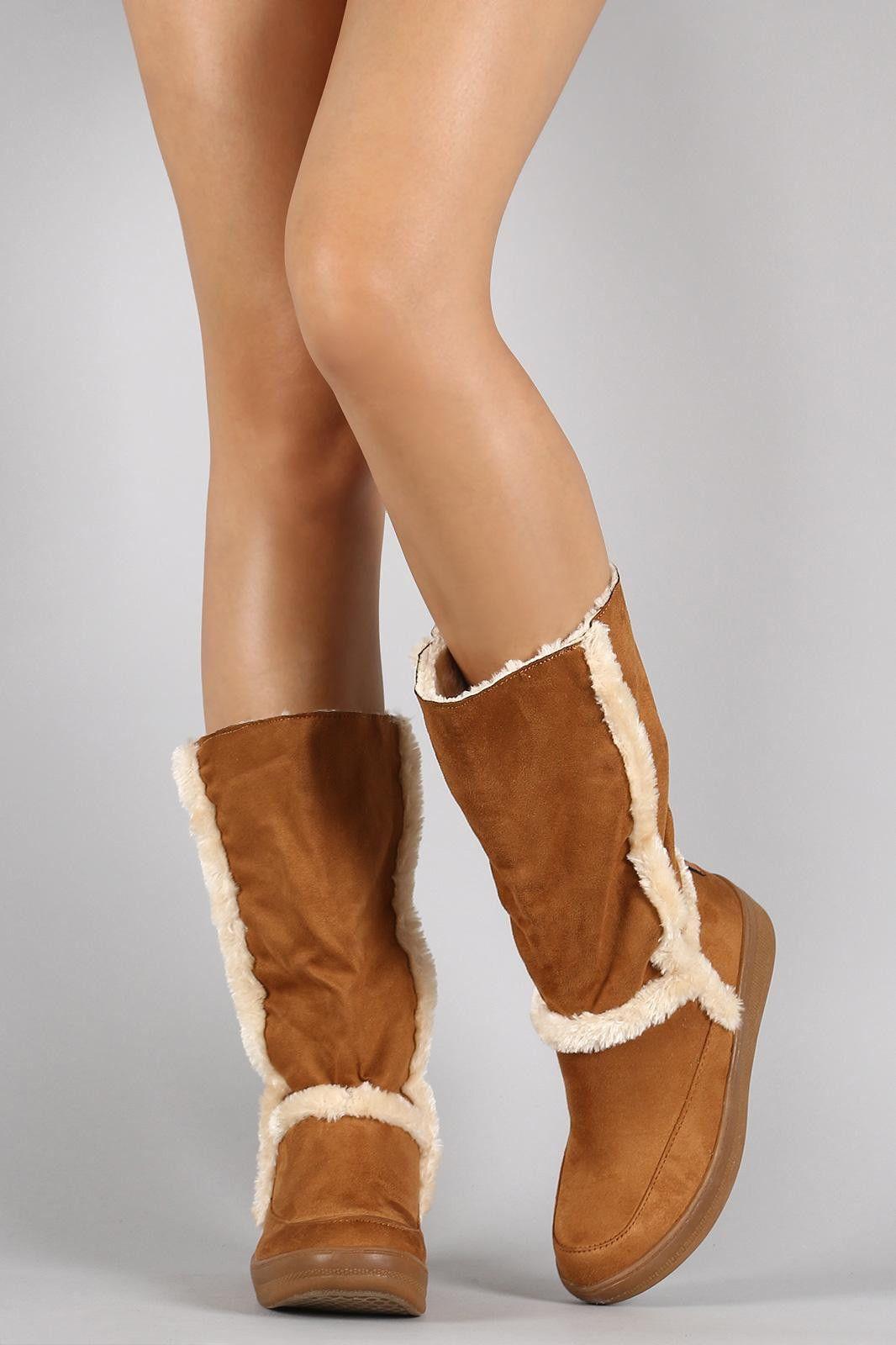 Suede Faux Fur Trim Mid Calf Snow Boots