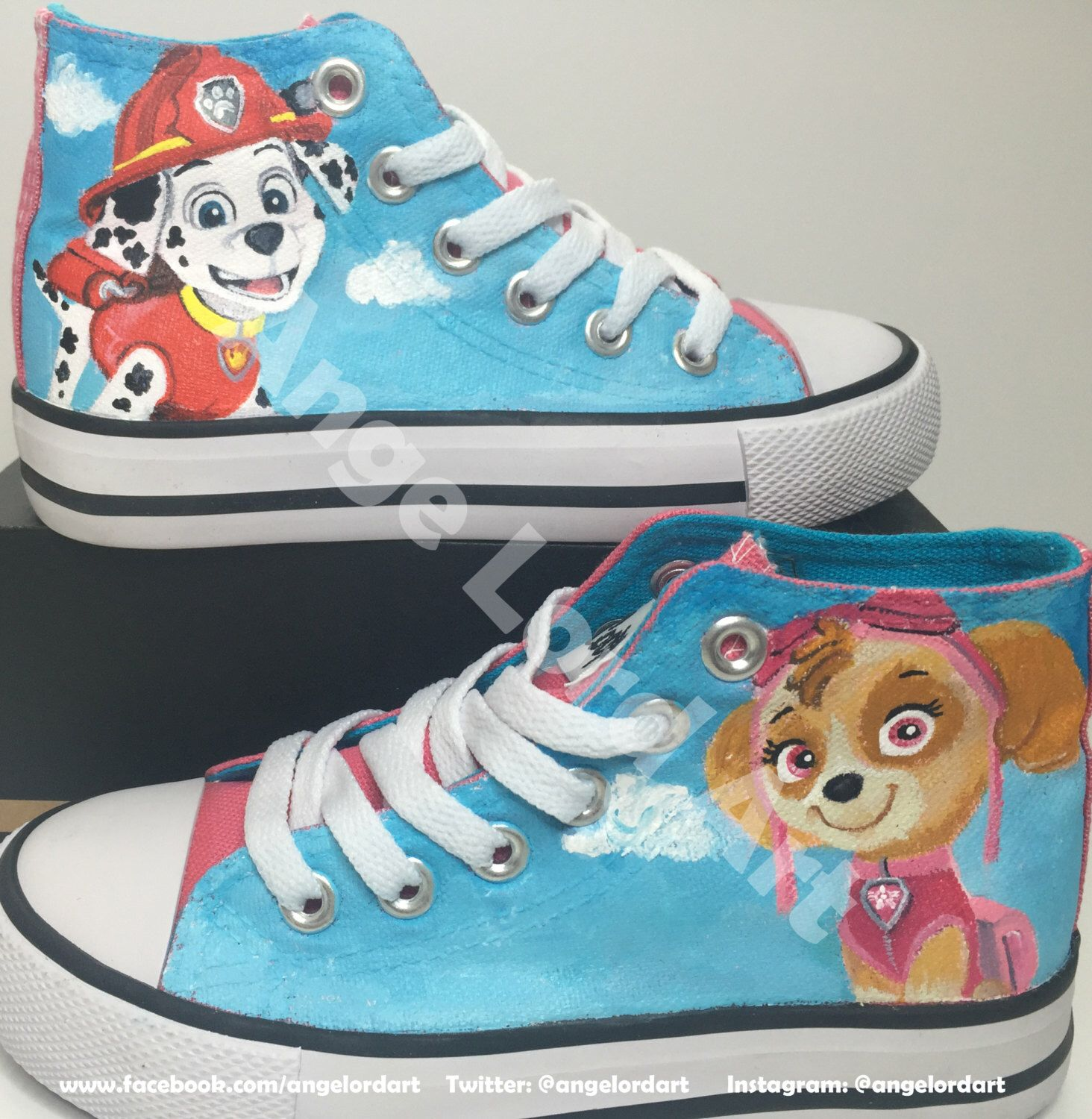 Walking dead converse shoes for sale - Custom Painted Paw Patrol Converse Hi Tops Shoes Sneakers All Toddler
