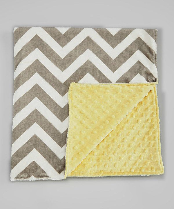 Look at this Lolly Gags 26'' x 30'' Pale Yellow & Gray Chevron Minky Baby Blanket on #zulily today!