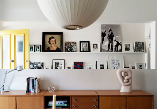 Frames are great on shelves rather than the walls. Good tips here.