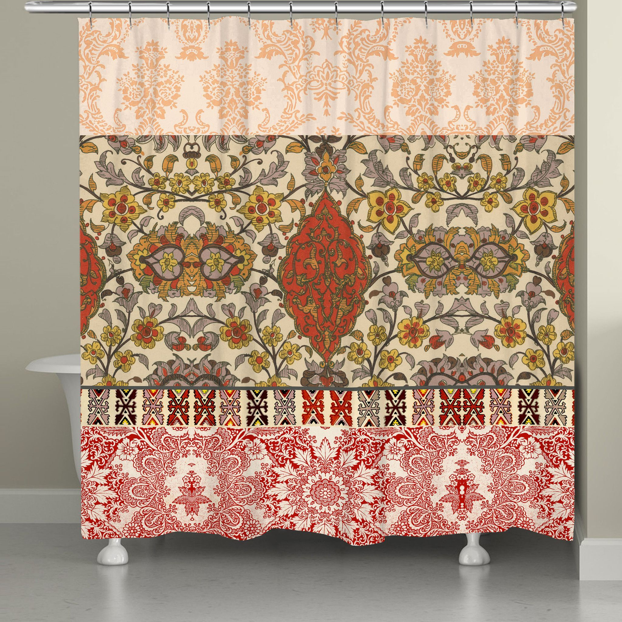 Red Spice Bohemian Tapestry Shower Curtain In 2020 Colorful