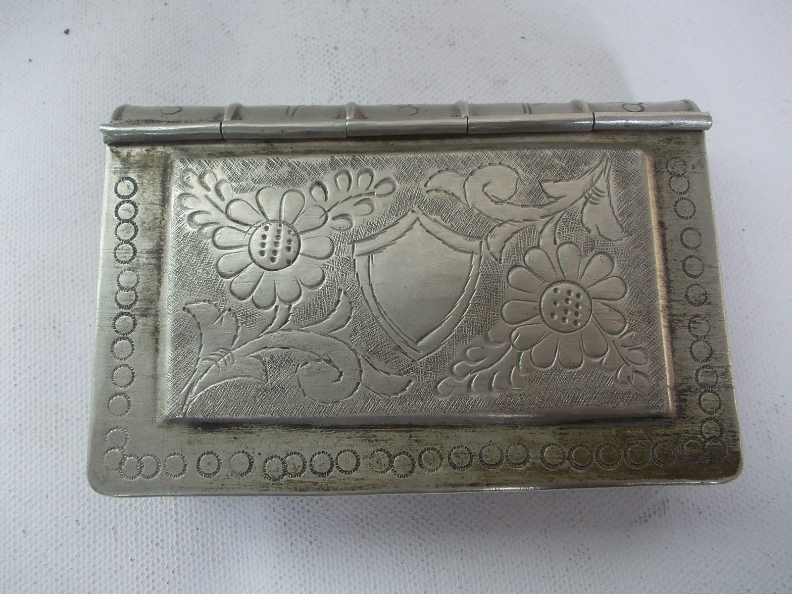 Decorative Fake Book Boxes Vintage Beautiful Hand Carved Book Shape White Metal Betel Nut Box